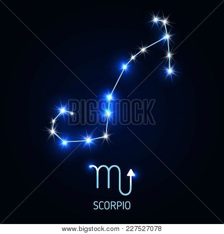 Scorpio Constellation And Zodiac Sing. Vector Illustration.