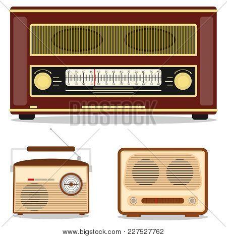 Retro Radio, Retro Radio Set. Listen To The Radio Station. Flat Design, Vector Illustration, Vector.