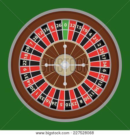 Roulette, A Roulette Wheel Of A Casino. Casino Logo. Flat Design, Vector Illustration, Vector.