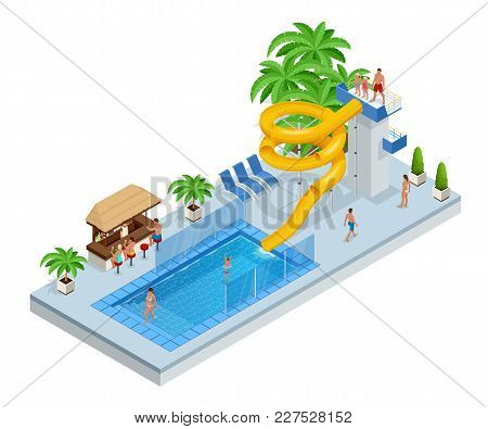 Isometric Aqua Park With Water Slides, Water Pool, People Or Visitors And Palms. Vector Illustration