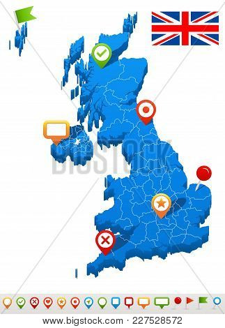 Vector Illustration Of Great Britain Map And Navigation Icons