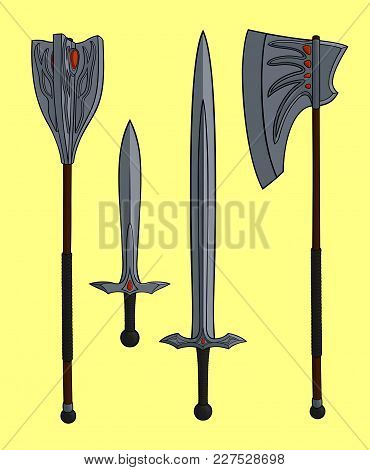 Cartoon One Handed Magic Legendary Weapons With Set On Yellow Background