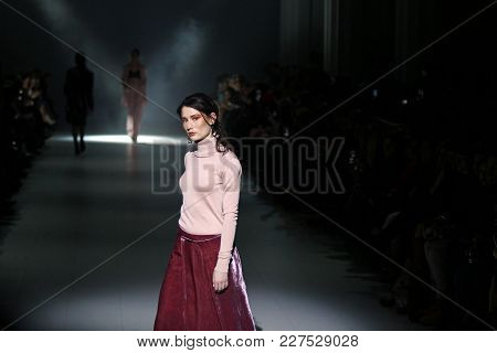 Kyiv, Ukraine - February 4, 2018: Model Walks The Runway At Annamuza Collection Show During Ukrainia