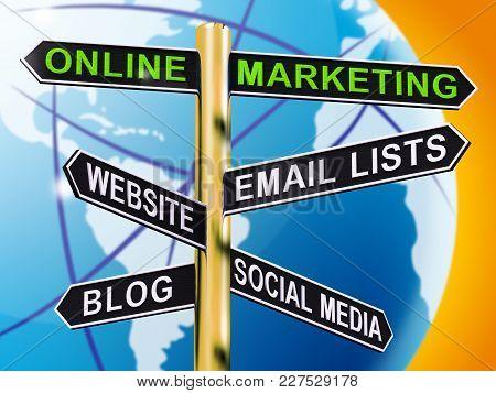 Online Marketing Signpost Showing Blogs Websites Social Media 3D Illustration