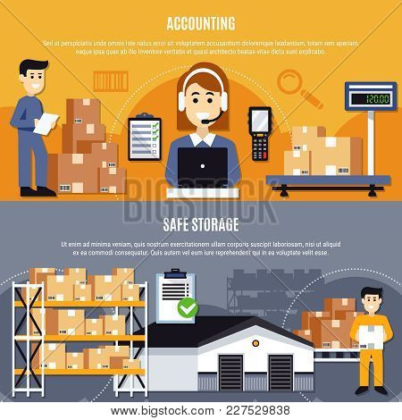 Two Horizontal Flat Warehouse Banner Set With Accounting And Safe Storage Descriptions Vector Illust
