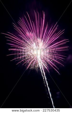 Pink Firework Exploding And Leaving A Light Trail.