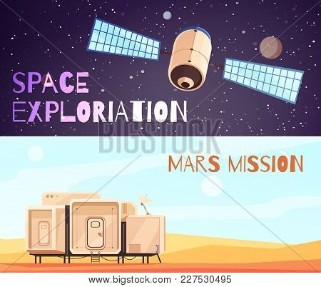 Space Technology Banners Set Of Two Horizontal Cosmic Exploration Compositions With Images Of Satell