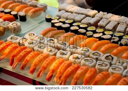 Gourmet Sushi On A Glass Tray At Gala Dinner