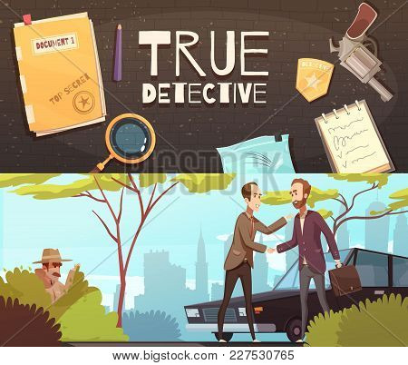 Set Of Two Horizontal Banners With Doodle Style Flat Images Of Detective Accessories And Story Episo