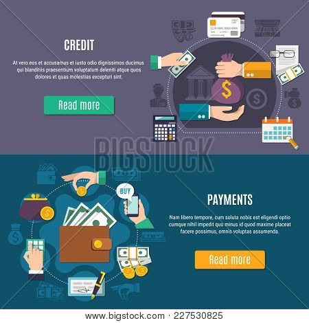 Two Horizontal Money Flat Colored Banner Set With Credit And Payment Headlines And Read More Button