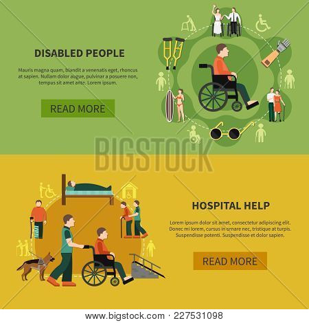 Two Flat Horizontal Disabled Person Banner Set With Hospital Help And Disabled People Descriptions V