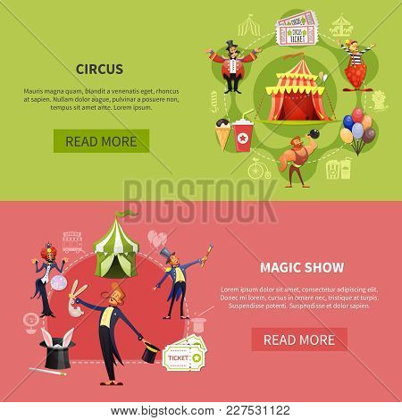 Circus Cartoon Banner Set With Circus And Magic Show Headlines And Read More Buttons Vector Illustra