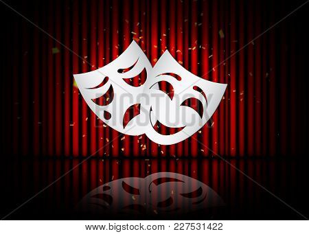 Happy And Sad Theater Masks, Theatrical Scene With Red Curtains And Reflection. Stock Vector Illustr