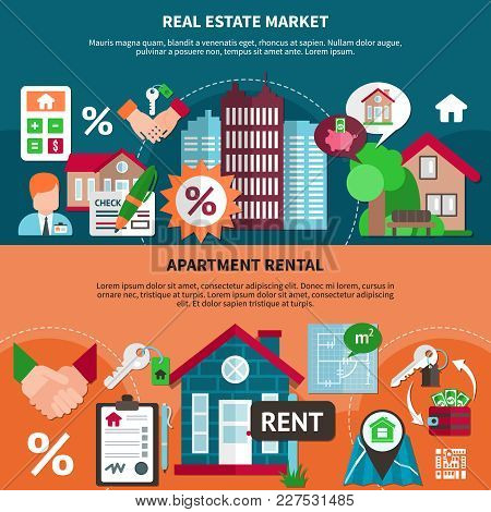 Two Horizontal Real Estate Banner Set With Market And Apartment Rental Headlines Vector Illustration