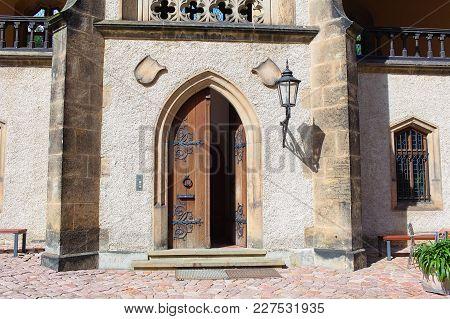 Elements Of The Castle Albrechtsburg, Door, Statue, Gates, Window, Columns And Halls.