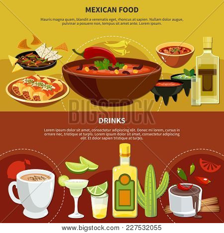Mexican Food And Drinks Banners Including Bean Soup With Chili, Nachos, Sauces, Cocoa, Tequila Isola