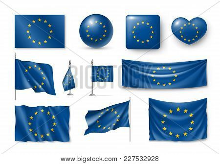 Set European Union Flags, Banners, Banners, Symbols, Realistic Icon. Vector Illustration Of Collecti