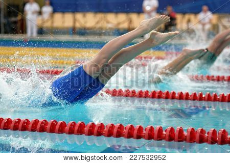 ST. PETERSBURG, RUSSIA - DECEMBER 22, 2017: Start of women 50m freestyle swimming competitions during Salnikov Cup. The Cup is recognized as a preliminary of World Short Course Swimming Championship