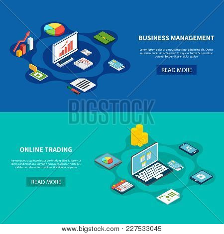 Data Isometric Banners Collection With Text Read More Button And Online Trading Business Pictograms