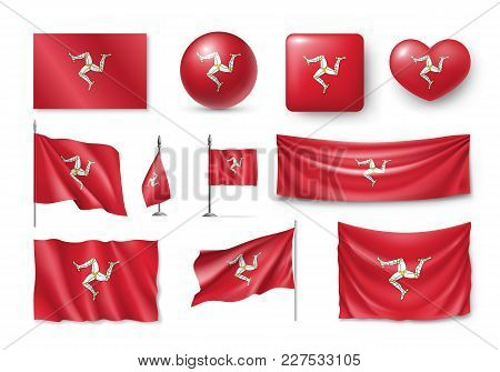 Set Isle Of Mann Flags, Banners, Banners, Symbols, Flat Icon. Vector Illustration Of Collection Of N
