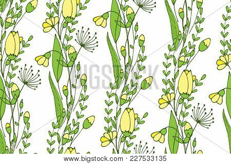 A Seamless Spring Pattern Consisting Of Flowers And Buds. Endless Wallpaper. Vector