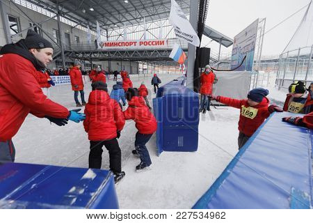 ST. PETERSBURG, RUSSIA - FEBRUARY 3, 2018: Children go to start during the Open All-Russian Mass Skating Competitions Ice Of Our Hope. This year competitions will be held in 32 cities of Russia