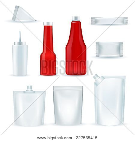 Sauce Red And White Blank Identity Plastic Packing Pouches Packages Bottles Dispenser Realistic Isol