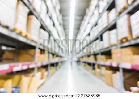 Warehouse Store Box On Shelf Blurred  Background