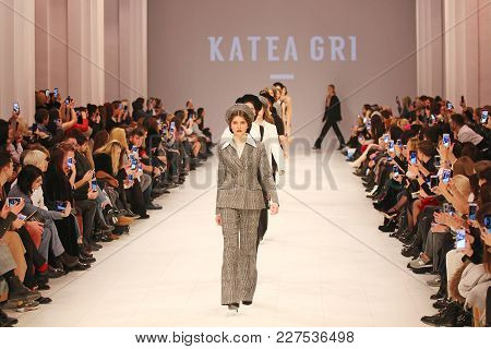 Kyiv, Ukraine - February 7, 2018: Models Walk The Runway At Katea Gri Collection Show During Ukraini