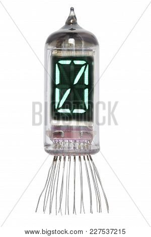 The Real Nixie Tube Indicator Of The Numbers Of Retro Style, Isolated On White Background. Display W