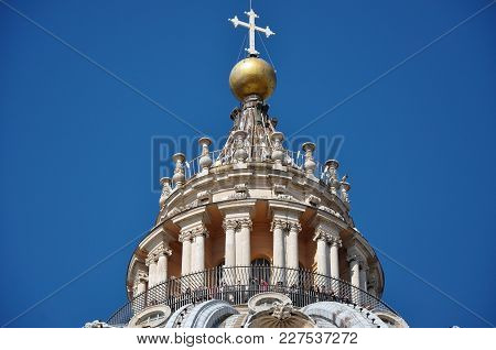 Tourists Visiting The Cupola Of The Saint Peter's Basilica In Vatican City