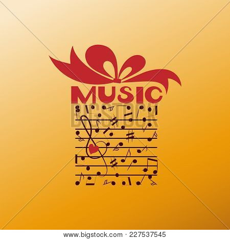 Favorite Music As A Gift. Poster Or Banner For Classical Music On Golden Background. Design For A Mu