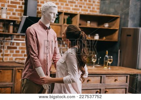Side View Of Beautiful Young Woman And Layman Doll In Casual Clothing, Perfect Relationship Dream Co