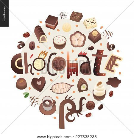 Love Spring Chocolate Slogan - Lettering Composition, Set Of Dark And White Chocolate Crisp Bonbons