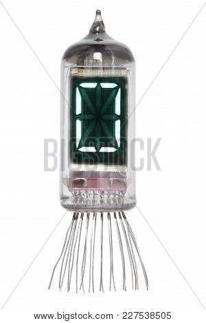 The Real Nixie Tube Indicator Of The Alphabet Of Retro Style, Isolated On White Background. Display