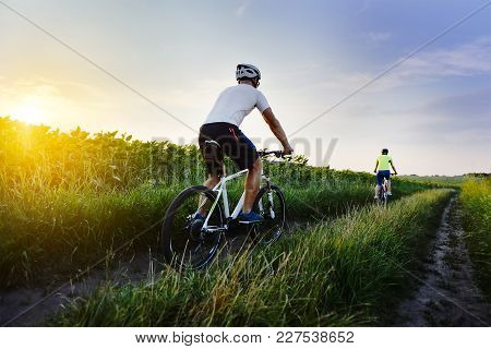 Man And Woman Riding Bicycles In A Field At Sunset In The Fall, Summer. The Girl And The Guy On The