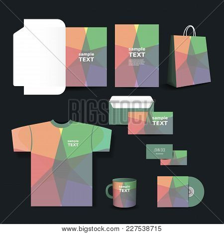 Stationery Set, Corporate Image Design Template With Colorful Pattern
