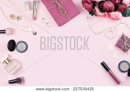 Beauty Blog Concept. Collection With Accessories, Flowers, Cosmetics And Jewelry On Pink Background,