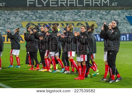 Moedling, Austria, 23th November 2017: Austrian Ladies Soccer Team After Fifa Wm Qualification Ladie