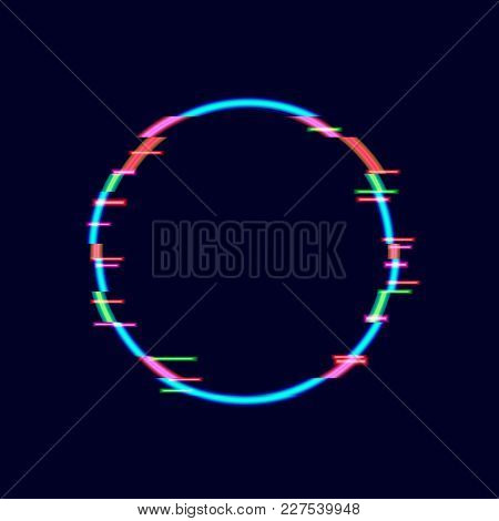 Neon Glitch Circle Frame, Technology Background, Minimalistic Design Element. Isolated On Black, Neo