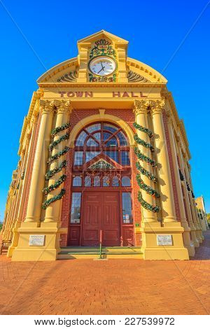 York, Australia - Dec 25, 2017: Famous Place York Town Hall In Avon Valley, Is An Heritage Listed Vi