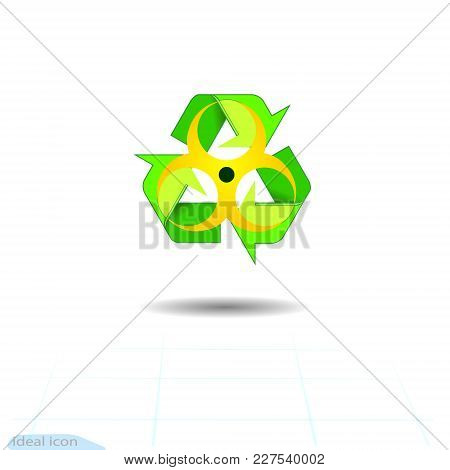 Biohazard Recycled, Eco Vector Icon. Recycle Arrows Ecology Symbol. Recycled Cycle Arrow. Vector Ill