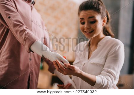 Young Woman And Mannikin With Jewelry Box In Hand, Perfect Relationship And Marriage Dream Concept
