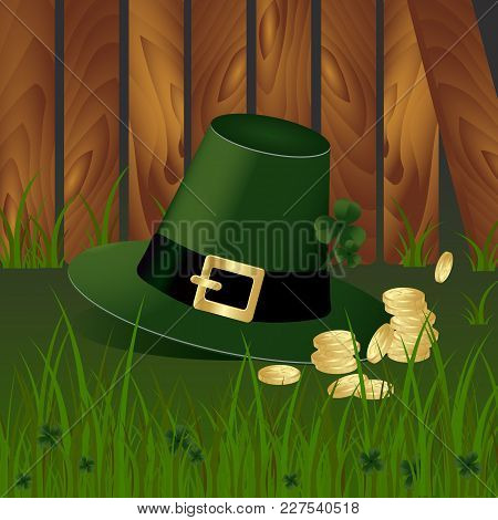 Leprechaun Hat With Fhree-leafed Clover And Golden Coins On Background With Green Grass And Wooden G