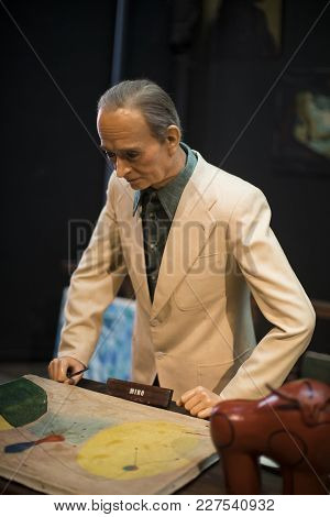 Barcelona, Spain - 11 January 2018: Museum Of Wax Figures In Barcelona On The Street Las Ramblas.