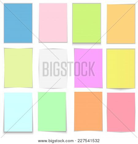 Vector Colorful Sticky Notes, Post Stickers With Shadows Isolated On A Transparent Background.