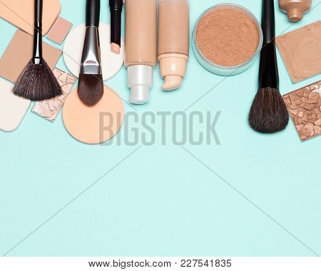 Foundation Makeup Products On Turquoise. Make-up Background, Free Space For Text