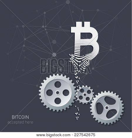 Illustration Of A Blockchain, A Gear Mechanism, The Collapse Of The Bitcoin Logo