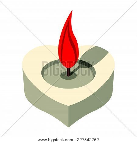 Love Candle Icon. Love And Gifts For Web On White Background. Flat Vector Illustration