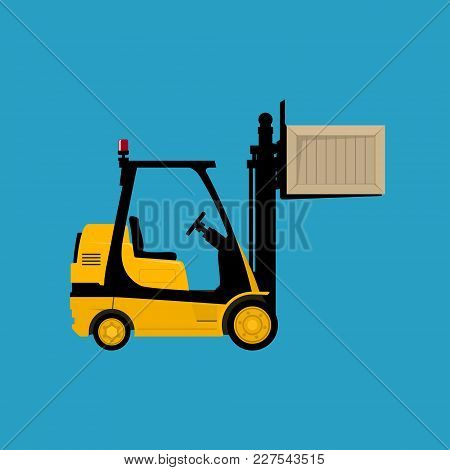 Forklift Truck Isolated On A Blue Background, Yellow Vehicle Forklift Lifted The Box Up, Vector Illu